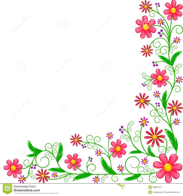 Floral Corner Color Clipart #1