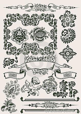 Flowers Vintage Clipart .