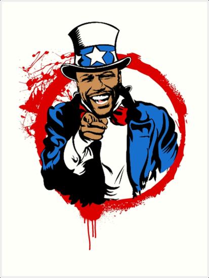 Floyd Mayweather Uncle Sam Cartoon (Red -Floyd Mayweather Uncle Sam Cartoon (Red Circle) by turntupgear-12
