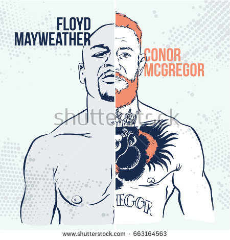 June, 19 2017: Vector illustration of famous boxing fighters and MMA Conor  McGregor and