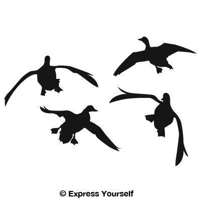 Flying Duck Silhouette   Jukinu0026#39;u0026#39; Four Ducks Waterfowl Decal