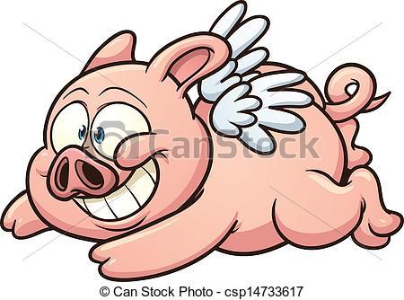 ... Flying pig - Cartoon winged pig flying. Vector clip art.
