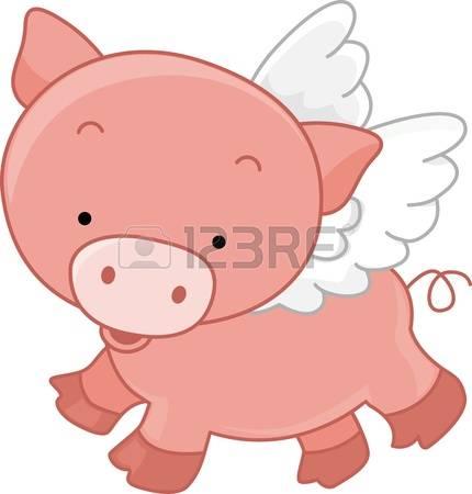 flying pig: Illustration of a - Flying Pig Clipart