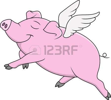 flying pig: Illustration of a