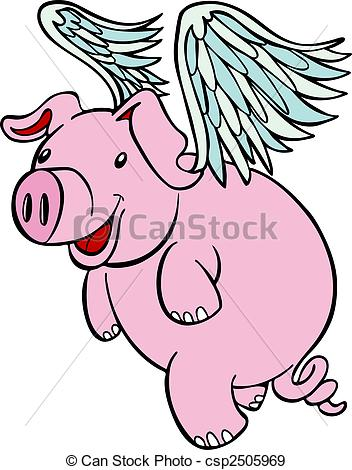 ... Flying Pig - Pig with wings flying cartoon character.