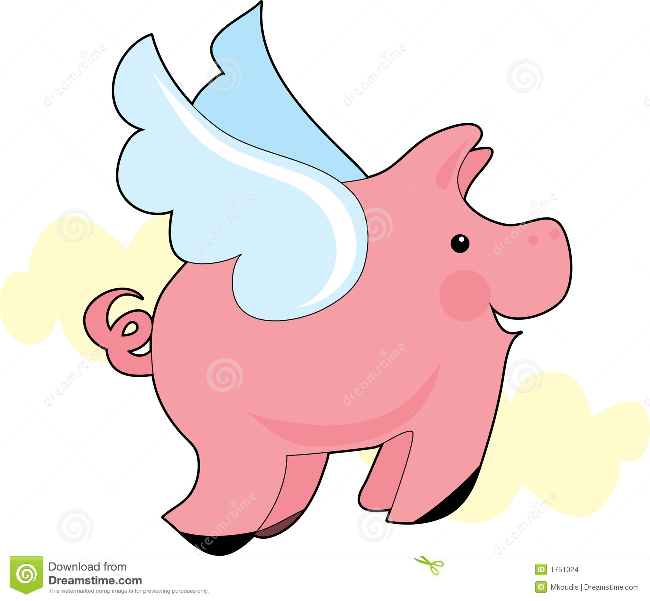 Flying Pig Stock Images - Flying Pig Clipart
