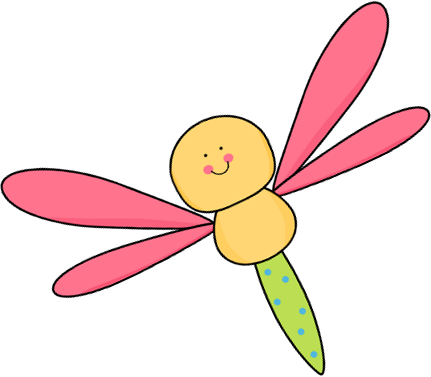 Flying Pink and Yellow Dragonfly Clip Art - Flying Pink and Yellow