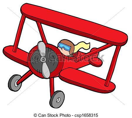 ... Flying red biplane - isolated illustration.