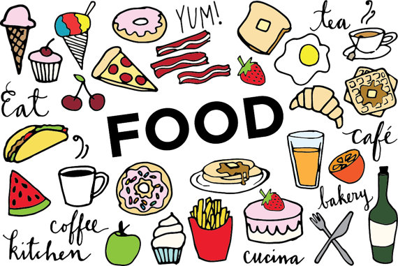 Food Clip Art - Hand drawn clip art, food collage sheet, desserts clipart,