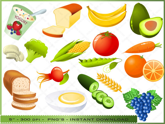 Food Clipart Clip Art Of Healthy Foods By Digitalclipartstore