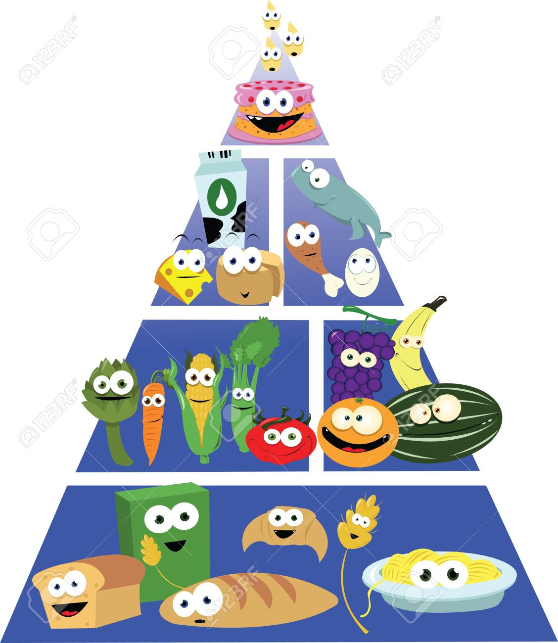 food pyramid: A cartoon representing a f-food pyramid: A cartoon representing a funny food pyramid Illustration-15