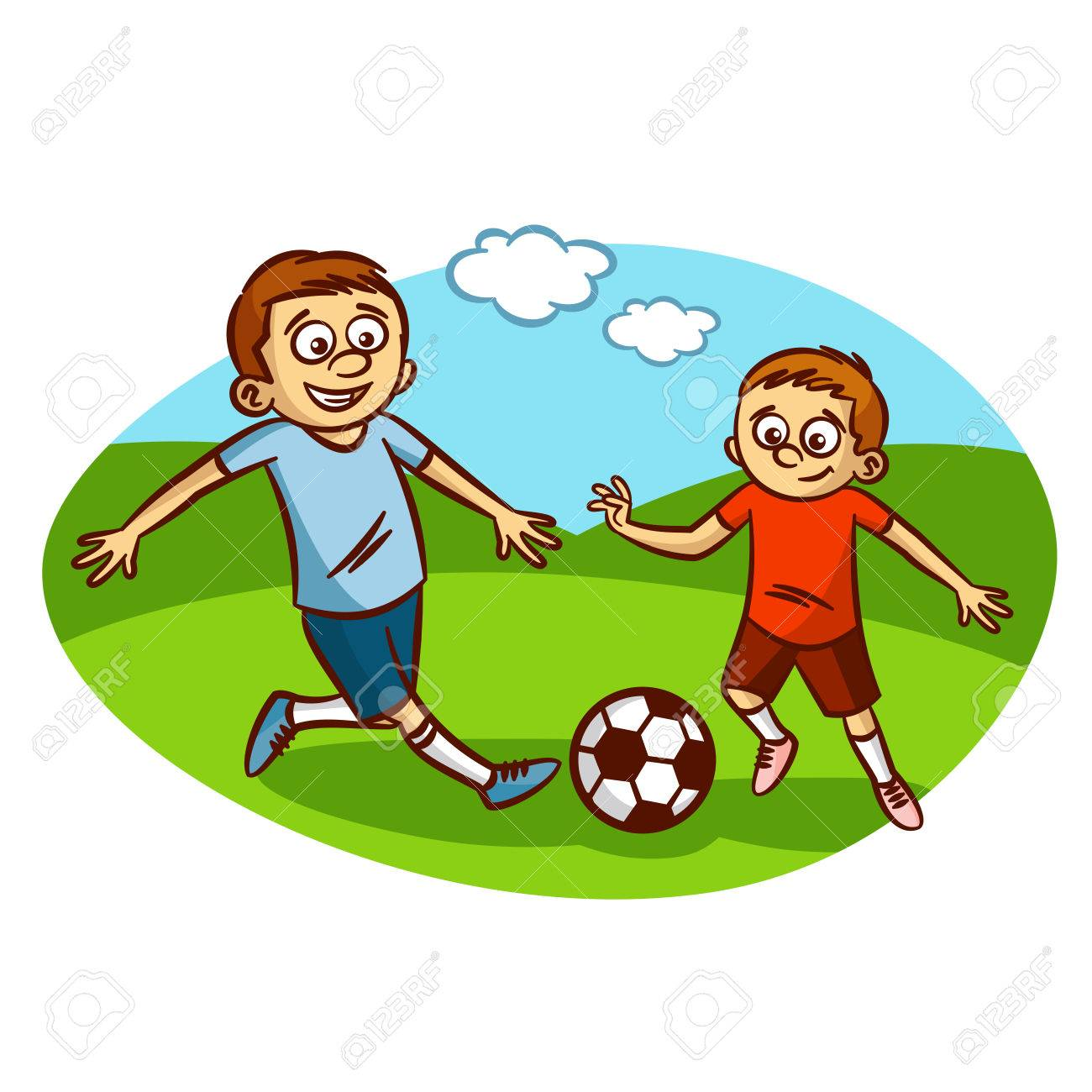 Dad And Son Playing Football Clipart Sto-Dad and son playing football Clipart Stock Vector - 61633148-4