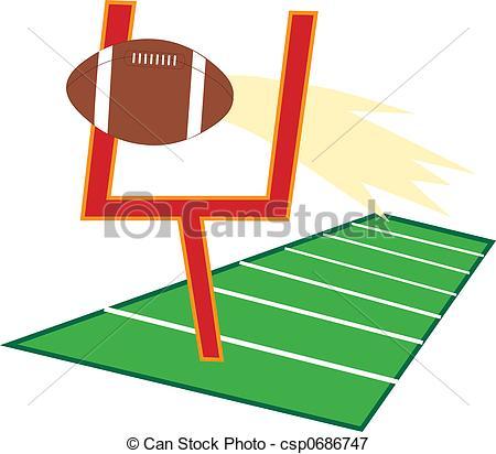 Football Field - Football going through a goalpost on a.