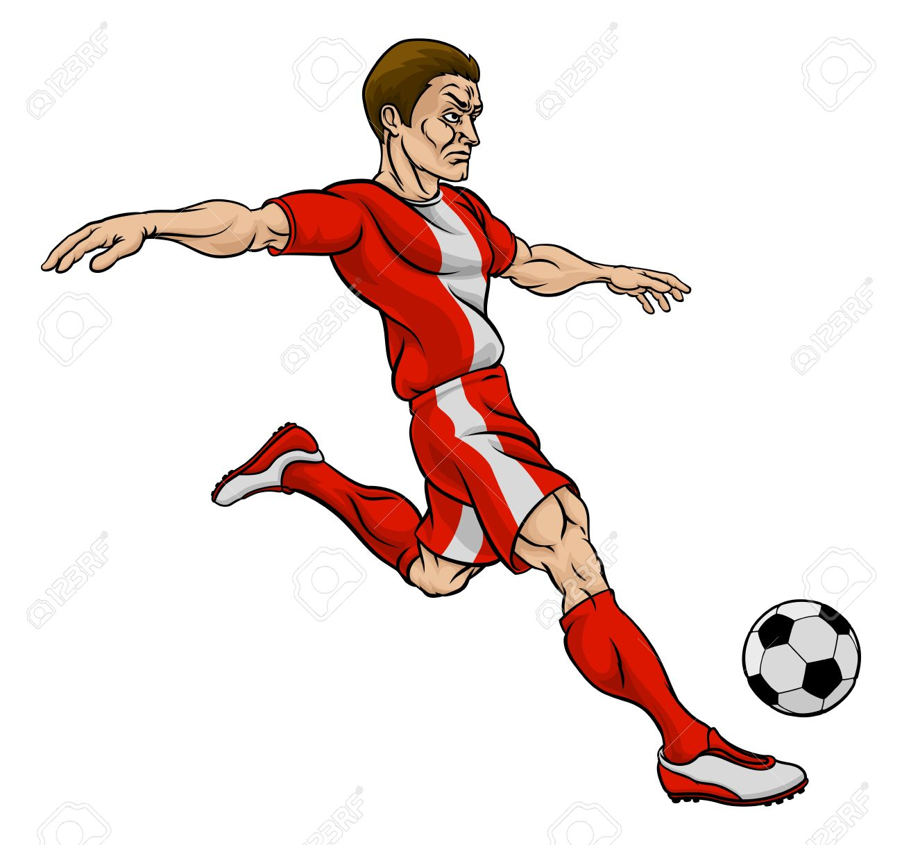 A cartoon football soccer player character kicking the ball Stock Vector -  66013531