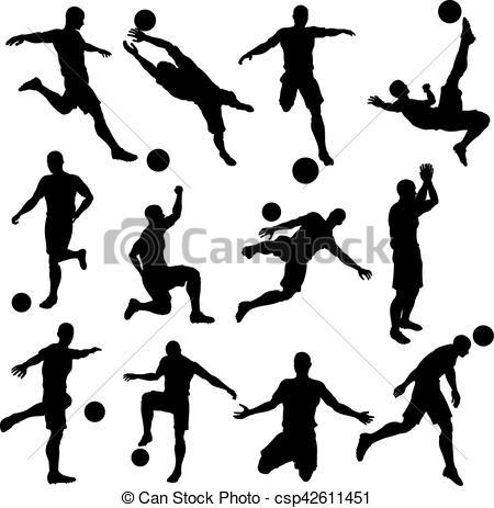 Soccer Footballer Silhouettes - csp42611451