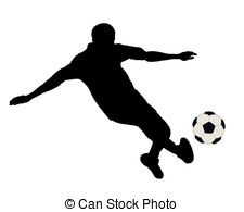 The footballer and football - Silhouette of the footballer.