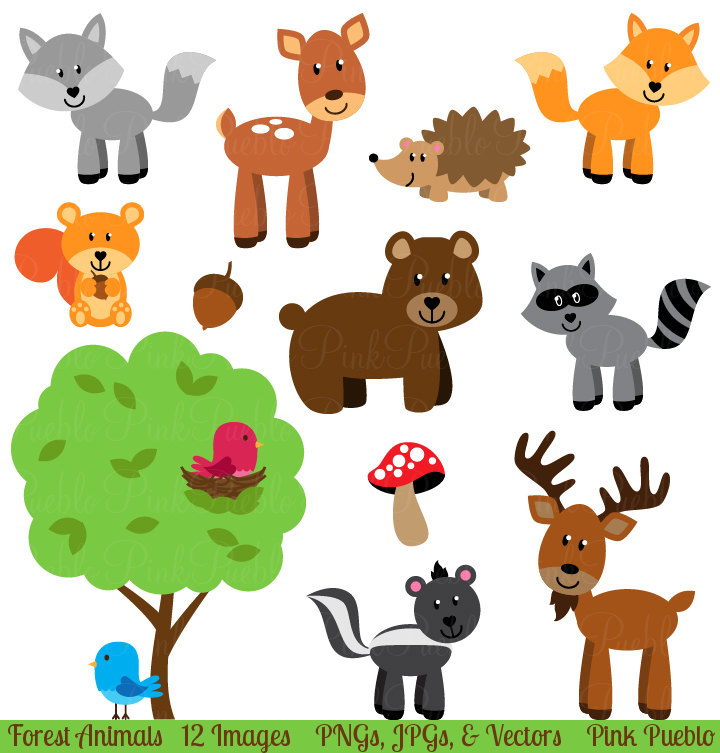 Forest Animal Clip Art, Forest Animals Clipart, Woodland Animal Clip Art, Woodland Animals Clipart - Commercial and Personal | Forests, Clip art and Deer
