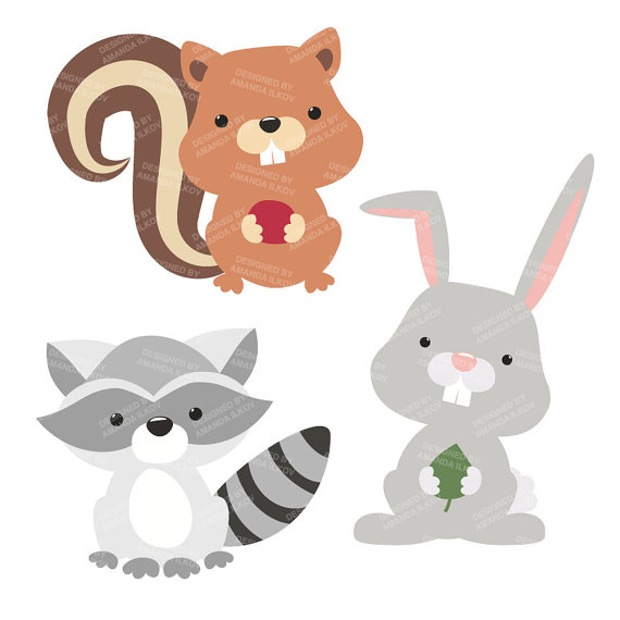 ... Forest Animal Clipart, Woodland. ◅-... Forest Animal Clipart, Woodland. ◅-4
