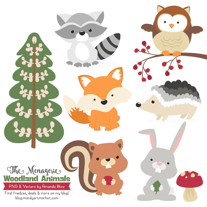 ... Forest Animal Clipart, Woodland. -... Forest Animal Clipart, Woodland. -5
