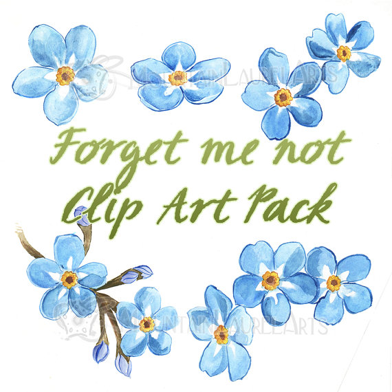 Blue Flower Clipart - Forget-me-not Wate-Blue Flower Clipart - Forget-me-not Watercolor Painting Digital Collage Clip  Art Scrapbooking-0