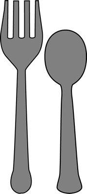 Fork and Spoon Clip Art Image - large gray fork and spoon.