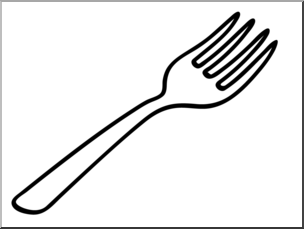 Clip Art: Basic Words: Fork Bu0026W Unlabeled I abcteach clipartlook.com - preview 1
