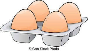 ... four eggs - illustration of four eggs in a egg tray