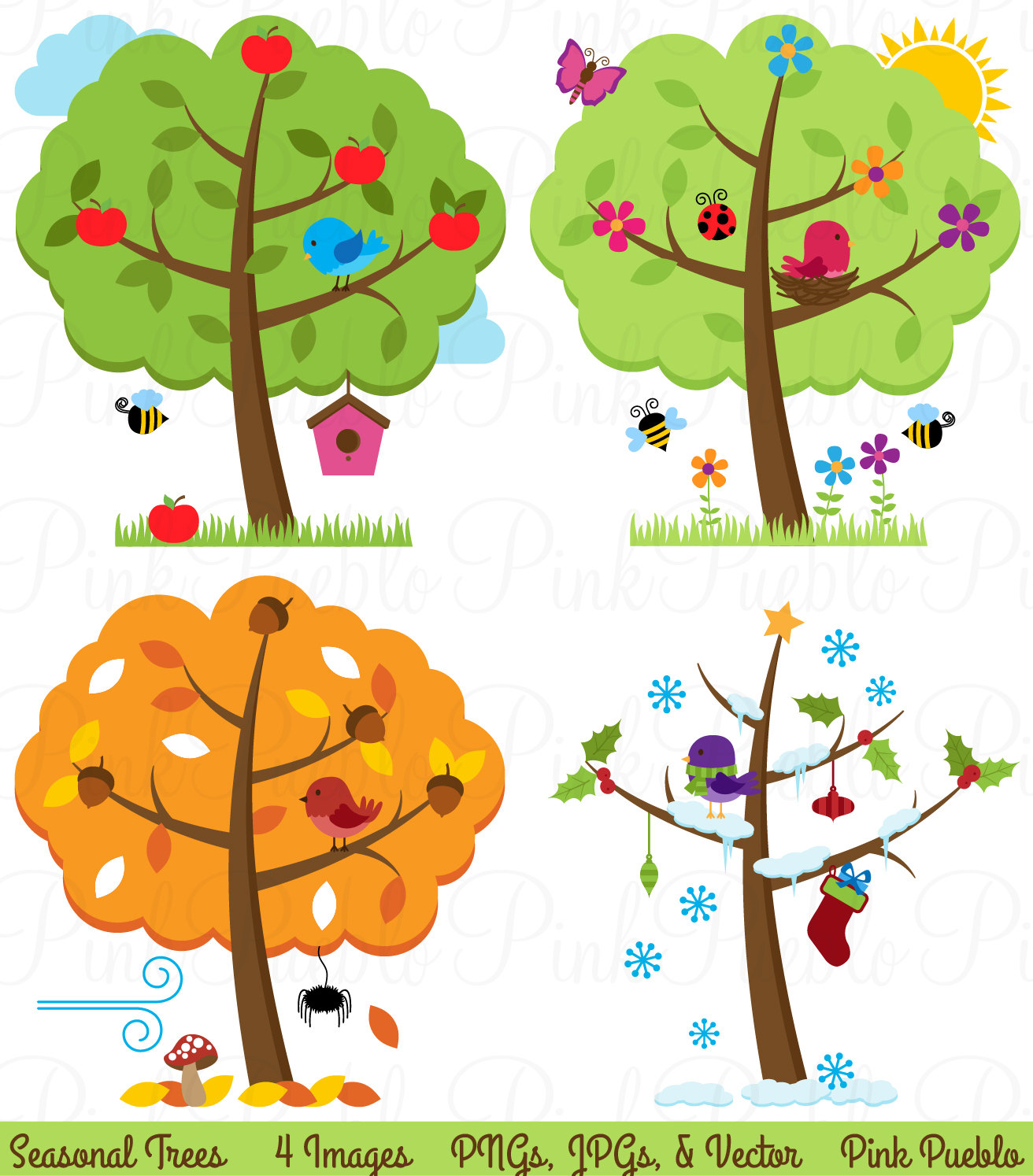 Four Seasons Trees Clipart Clip Art, Sea-Four Seasons Trees Clipart Clip Art, Seasonal Trees and Birds Clipart Clip Art Vectors - Commercial and Personal Use-3