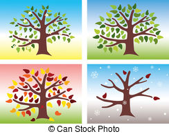 ... Four Seasons - Vector illustration of a tree during the four... Four Seasons Clipart ...