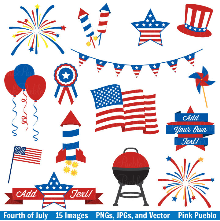 Fourth of July Clip Art Clipart, 4th of July Clip Art Clipart Vectors, Great for Decorations or Decor - Commercial and Personal