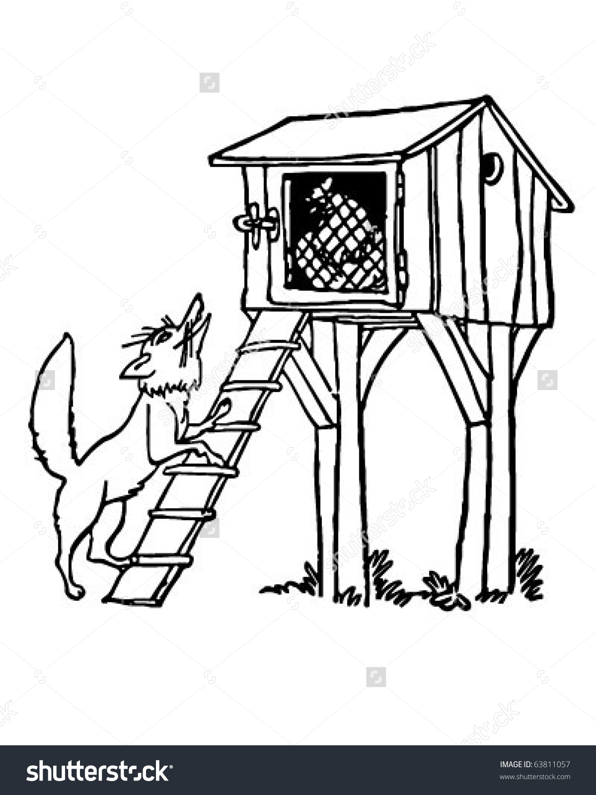 Fox At The Chicken Coop - Retro Clipart -Fox At The Chicken Coop - Retro Clipart Illustration-16