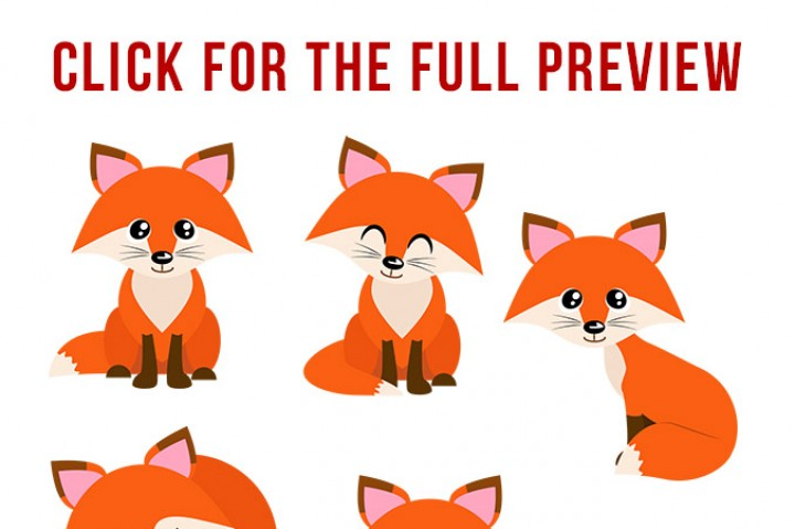 Red Foxes Clipart, Forest Animals, Cute Fox Clipart, Winter Clipart, Fall  Clipart