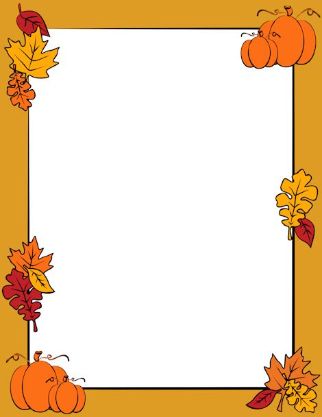 Free autumn border templates including printable border paper and clip art versions. File formats include GIF, JPG, PDF, and PNG.