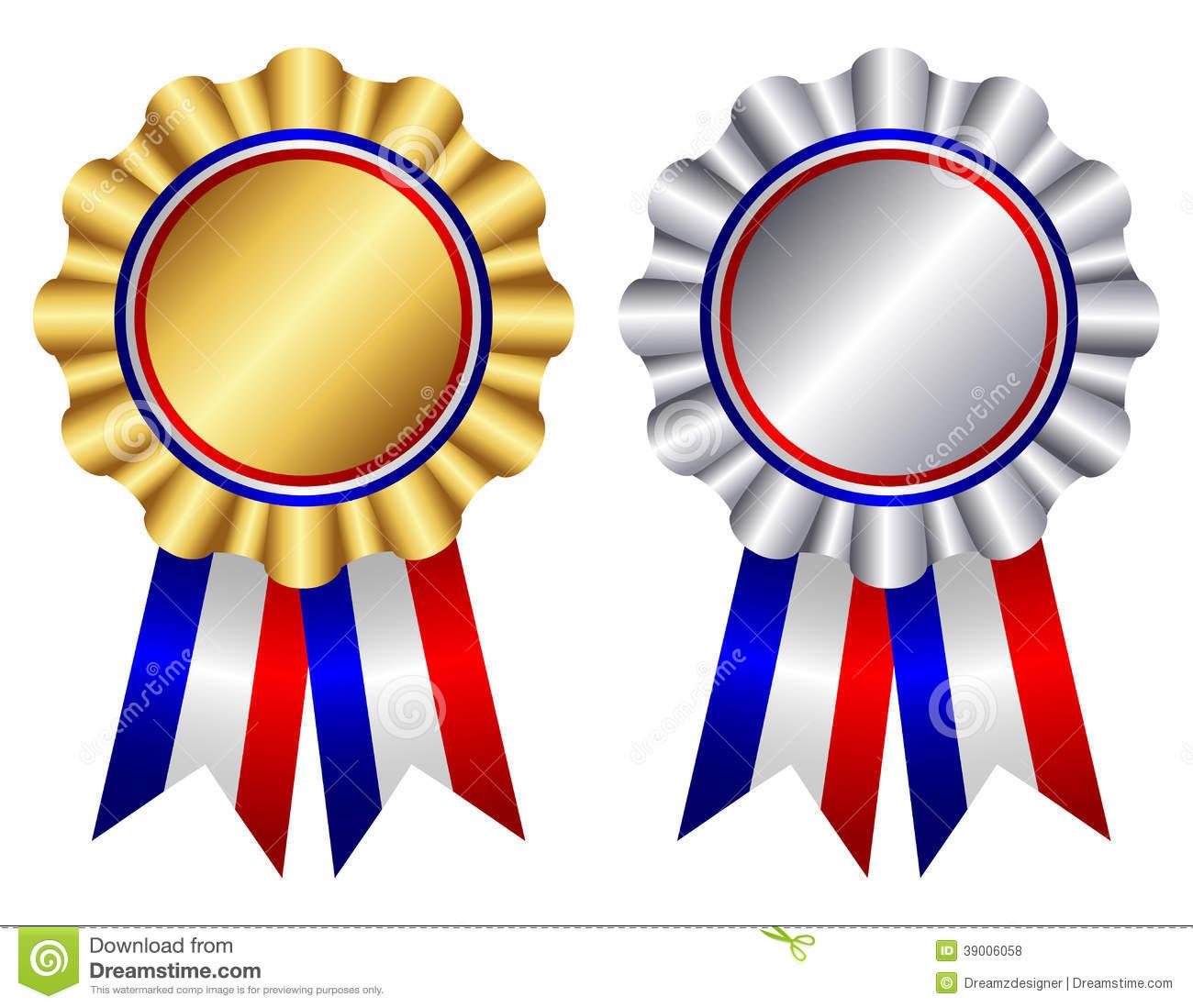 Free Award Ribbon Clipart. White And Blue Ribbons .