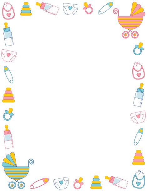 Free Baby Shower Border Templates Includ-Free baby shower border templates including printable border paper and clip art versions. File formats include GIF, JPG, PDF, and PNG.-9