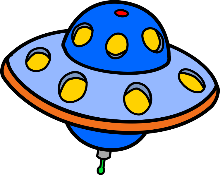 Free Blue Cartoon Flying Saucer Clip Art