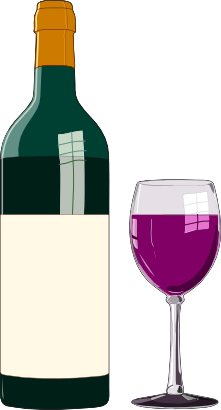 Free Bottle u0026amp; Glass of Red Wine Clip Art