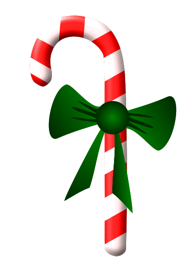 Free Candy Cane with Ribbon Clip Art