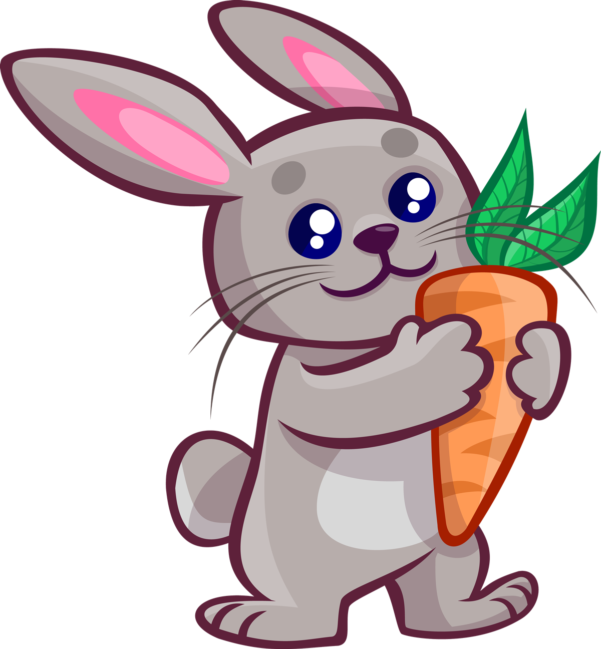 Free Cartoon Bunny Holding a Carrot Clip Art
