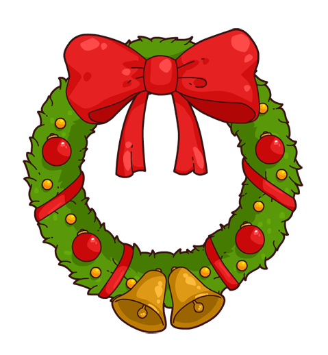 Free Cartoon Christmas Wreath Clip Art