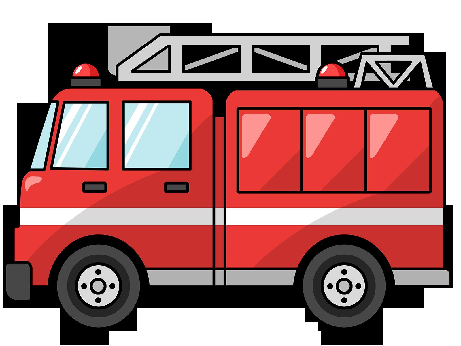 Free Cartoon Fire Truck Clip  - Clipart Trucks