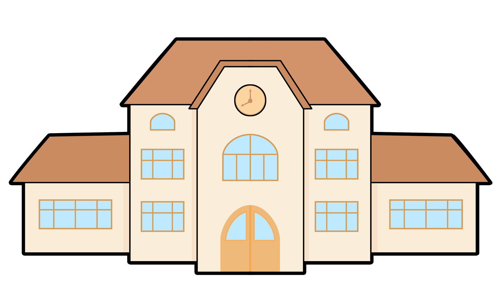 Free Cartoon School Building Clip Art