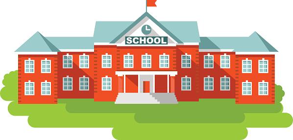 Free Cartoon School Building Clip Art. School building in flat style .