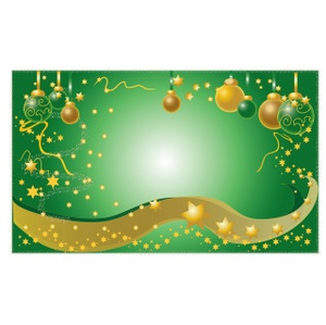 Free Christmas Clip Art Image: Christmas Background Design Graphic with Ornaments, Stars and Streamers