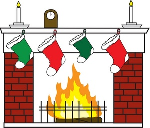 Free Christmas Fireplace Stockings Clip Art