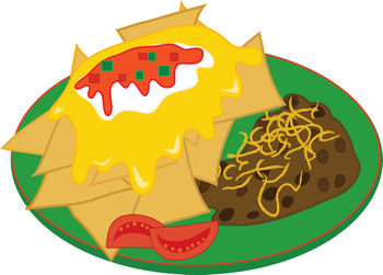 Free Clip Art Illustration of a Nachos with Refried Beans