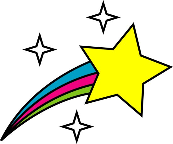 Free clip art of a cute colorful shooting star