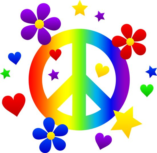 Free clip art of a rainbow peace sign wi-Free clip art of a rainbow peace sign with hearts stars and-5