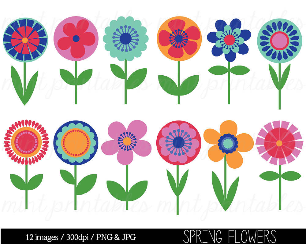 Free Clip Art Spring Flowers Popular Items For Clipart Spring On Etsy