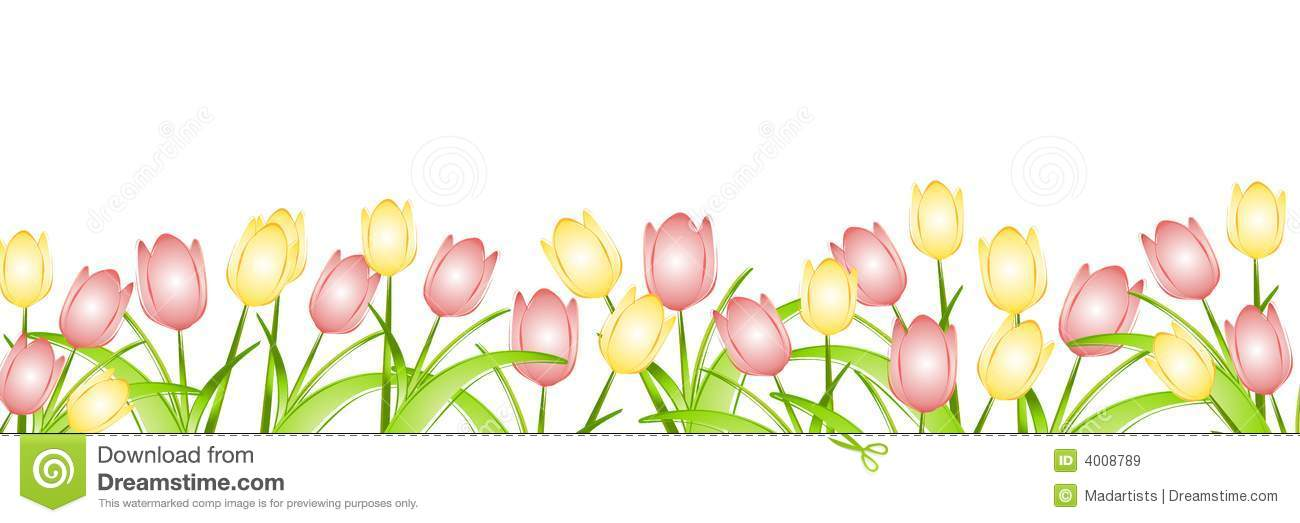 Free Clip Art Tropical Borders ... Row of Spring Tulips